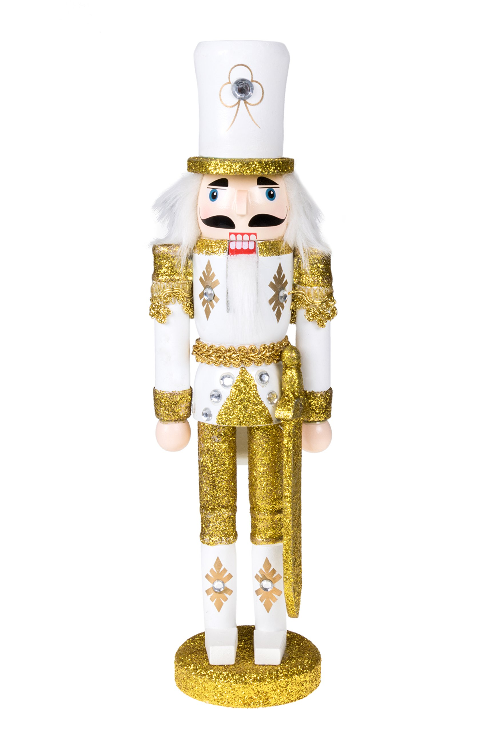 """Clever Creations Traditional Christmas Gold Soldier with Sword Nutcracker 