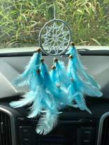 Rooh Dream Catcher ~ Baby Blue Crochet~ Handmade Hangings for Positivity (Used as Home Décor Accents, Wall Hangings, Garden, Car, Outdoor, Bedroom, Key Chain, Meditation Room, Yoga Temple, Windchime)