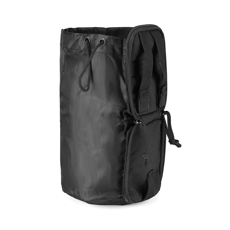 ProCase Versatile Dump Pouch, Tactical MOLLE Folding Magazine Dump Bag Water Bottle Pouch Fanny Pack Waist Bag with Adjustable Drawstring Closure -Black