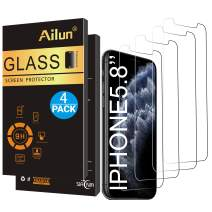 Ailun Screen Protector for iPhone 11 Pro/X/Xs 4 Pack 2.5D Edge Tempered Glass for iPhone 11 Pro/X /10 / Xs 5.8inch Anti Scratch Case Friendly Siania Retail Package