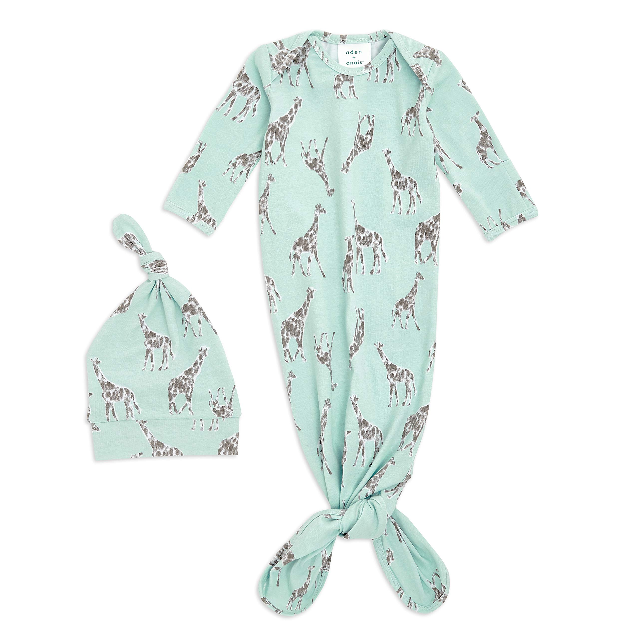aden + anais Comfort Knit Knotted Newborn Baby Gown and Hat, Super Soft Cotton with Spandex, Infant Gown with Fold Over Mitten Cuffs, 2 Piece Set, 0-3 Months, Jade Giraffes