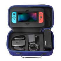 MoKo Portable Case for Nintendo Switch, Travel Carrying Hard Shell Box Holder Protective Storage with 12 Game Cartridge Card for Nintendo Switch 2017 Console, Gamepad, Charger & Cable - Indigo