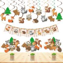 Woodland Animal Party Decorations Set Woodland Animals Bunting Banner Centerpiece Sticks Hanging Swirl Decorations For Woodland Creatures Theme Forest Friends Birthday Baby Shower Party Supplies