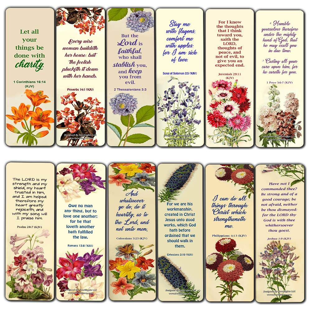 Christian Bookmarks for Women Girls Flower Floral KJV Scriptures Series 3 (12 Pack) - Stocking Stuffers for Evangelism Baptism Church Supplies Easter Thanksgiving Christmas Ministry