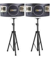 "BMB CSV-480 10"" 500W 3-Way Speaker (Set of 2) with 2 Heavy Duty Tripod Stands Bundle"