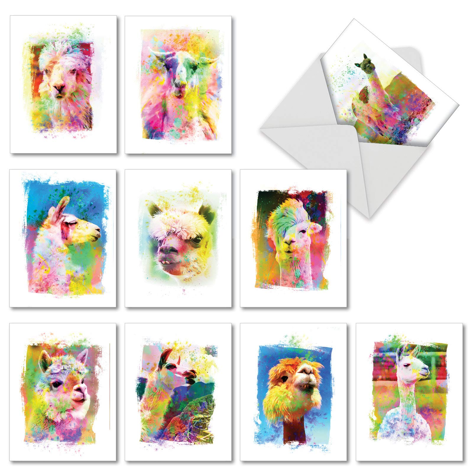 Funky Rainbow Llamas - 10 Watercolor Blank Note Cards with Envelopes (4 x 5.12 Inch) - Colorful Painted Farm Animal Greeting Cards for Kids - All Occasion, Assorted Boxed Notecards AM6862OCB-B1x10