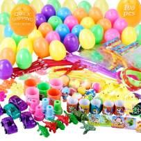 Easter Eggs, STRAWBLEAG 100Pcs Surprise Easter Egg Filled with Random Little Toys, Prefilled Colorful Easter Egg Toys with Dinosaurs, Seal, Little Vehicles for Easter Hunt, Easter Theme Party Favor