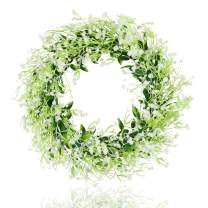 """famibay 17"""" Baby's Breath Flower Wreath for Front Door Artificial Fern White Floral Wreath Welcome Farmhouse Rustic Wreath for Garden Wedding, Wall, Window,Backdrop,Home Décor"""