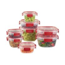 Rubbermaid Easy Find Lids Tabs Food Storage Container, 16-Piece Set, Clear with Red Tabs