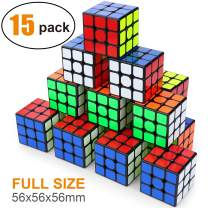 Full Size 3x3x3 Cube Set, Puzzle Party Toy, Eco-Friendly Material with Vivid Colors, Party Favor School Supplies Puzzle Game Set for Kids and Adults(15 Pack),2.2 Inch Each Side.