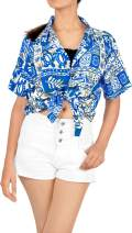 LA LEELA Women Plus Size Funky Hawaiian Shirt Shortsleeve Cover Up Printed A