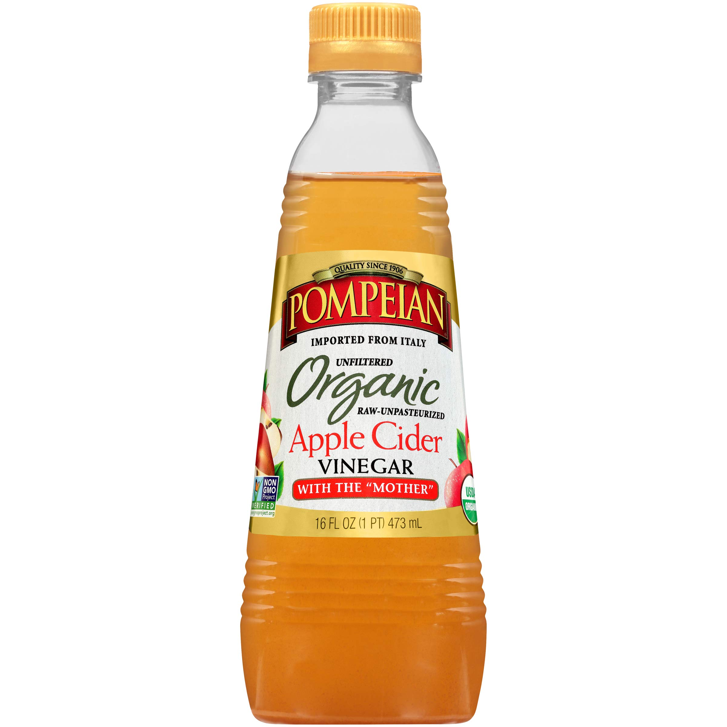 Pompeian Organic Apple Cider Vinegar - 16 Ounce (Pack of 6)