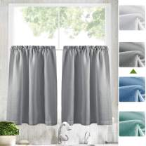 """Zceocnce Tier Curtains Semi Sheer Short Curtains Kitchen Casual Weave Cafe Curtains Half Window Treatments 2 Panels 24"""" L Grey"""