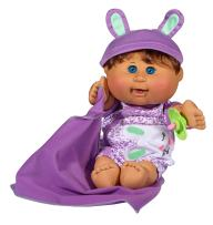 "Cabbage Patch Kids 12.5"" Naptime Babies - Brunette Hair/Blue Eye Girl (Leopard Jumper Fashion)"