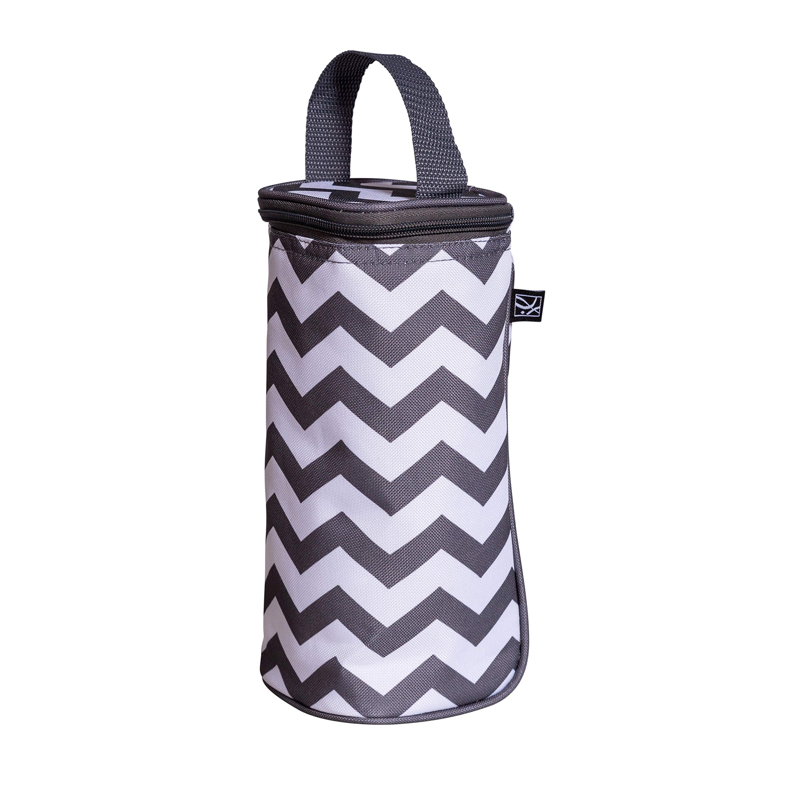 J.L. Childress Breastmilk Cooler & Baby Bottle Bag, Insulated & Leak Proof, Ice Pack Included, Single Bottle, Grey Chevron