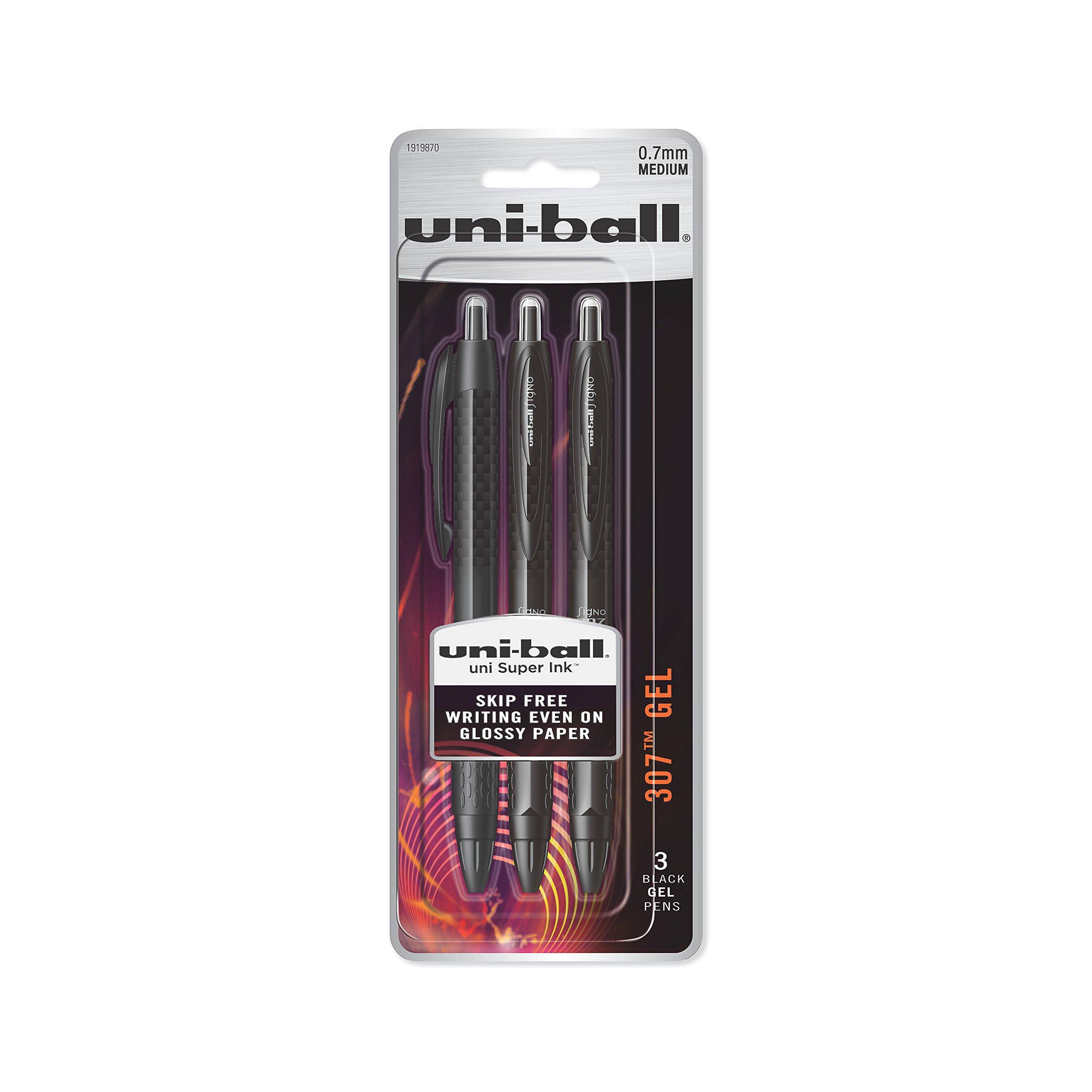uni-ball 307 Retractable Gel Pens, Medium Point (0.7mm), Black, 3 Count