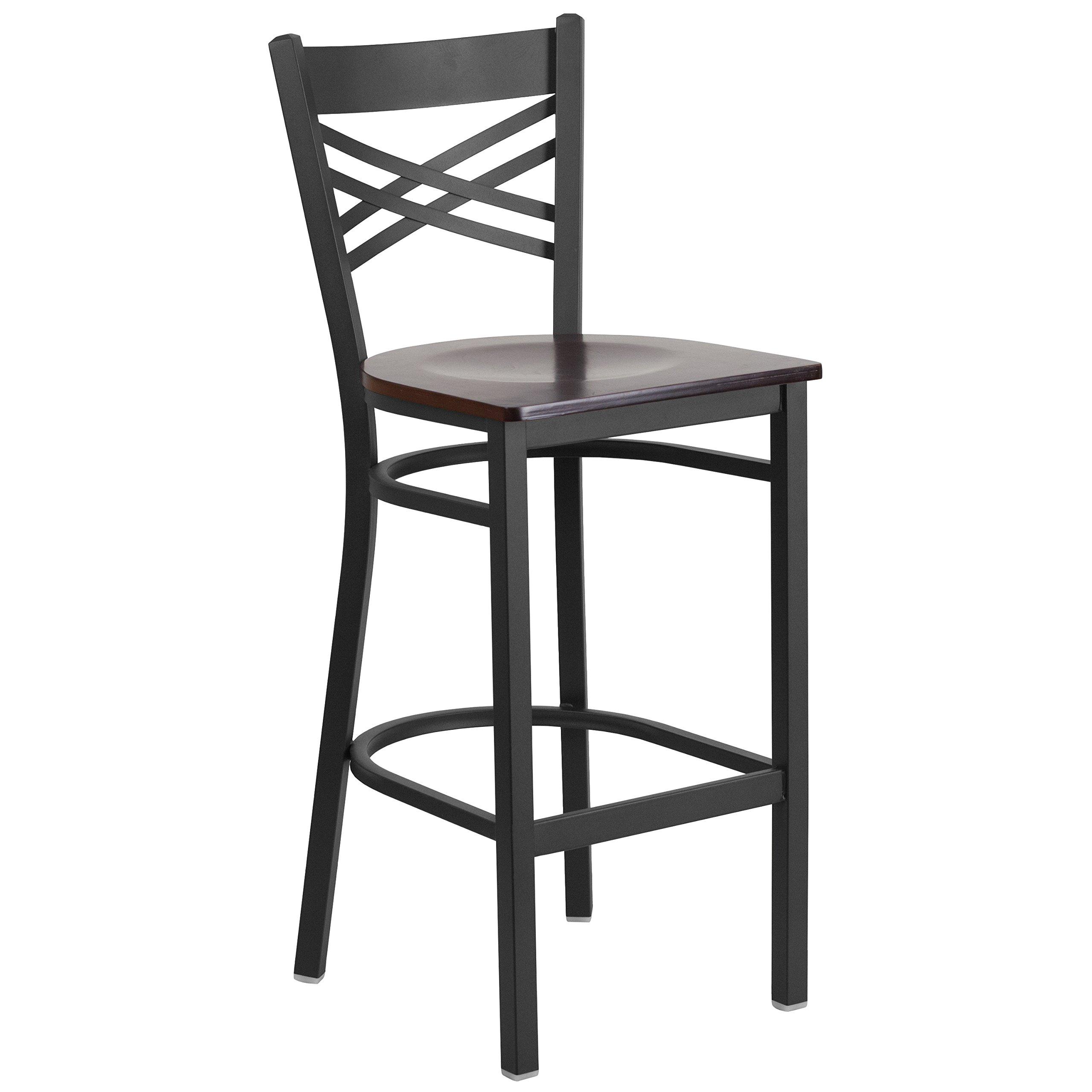 Flash Furniture HERCULES Series Black ''X'' Back Metal Restaurant Barstool - Walnut Wood Seat
