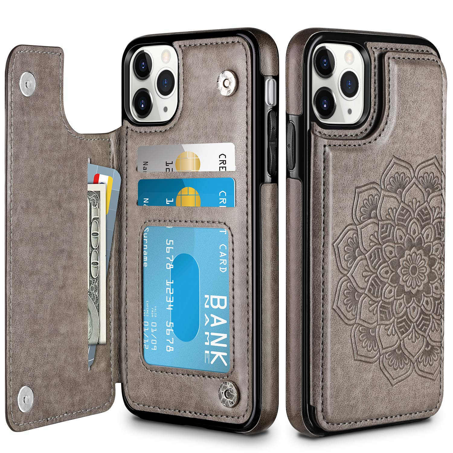 HianDier Wallet Case for iPhone 11 Pro Max Case Slim Protective Case with Credit Card Slot Holder Flip Folio Soft PU Leather Magnetic Closure Cover for 2019 iPhone 11 Pro Max 6.5 Inches, Mandala Gray