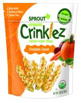 Sprout Organic Crinklez Toddler Snacks, Pumpkin Carrot, 1.5 Ounce Bag (Pack of 8)