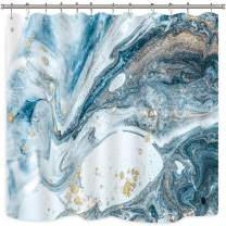 Riyidecor Abstract Blue Swirls Marble Ripples Shower Curtain Ocean Natural Luxury Gold Teal Agate Art Printed Fabric Waterproof Bathtub Decor 12 Pack Plastic Hooks 72x72 Inch