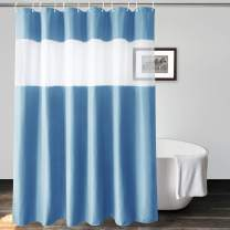 UFRIDAY Blue Gray Shower Curtain with Window at Top ,Heavy Duty Waffle Shower Curtain Hotel, Waterproof Bathroom Curtain Fabric, 36 by 72 Inch