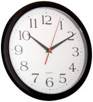 """UrbanWare Silent Decorative 10"""" Wall Clock - Quartz Sweep - Easy to Read - Round Black Frame - Battery Operated - White Face - 10 Inch"""
