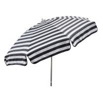 Heininger 1305 Destination Gear Italian Stripe Black and White 7.5 ft Patio Umbrella
