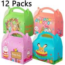 12Packs Easter Decorations Treat Box - Egg Bunny Bag Basket Stuffers Party Favor for Kids
