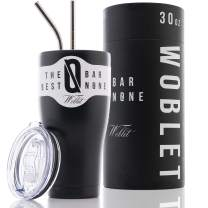 BAR NONE Woblet | 30 oz Stainless Steel Tumbler Vacuum Insulated Rambler Coffee Cup Double Wall Travel Flask Mug Insulated Stainless Steel Coffee Cup with Lid, 2 Straws, Gift Box (Matte Black)
