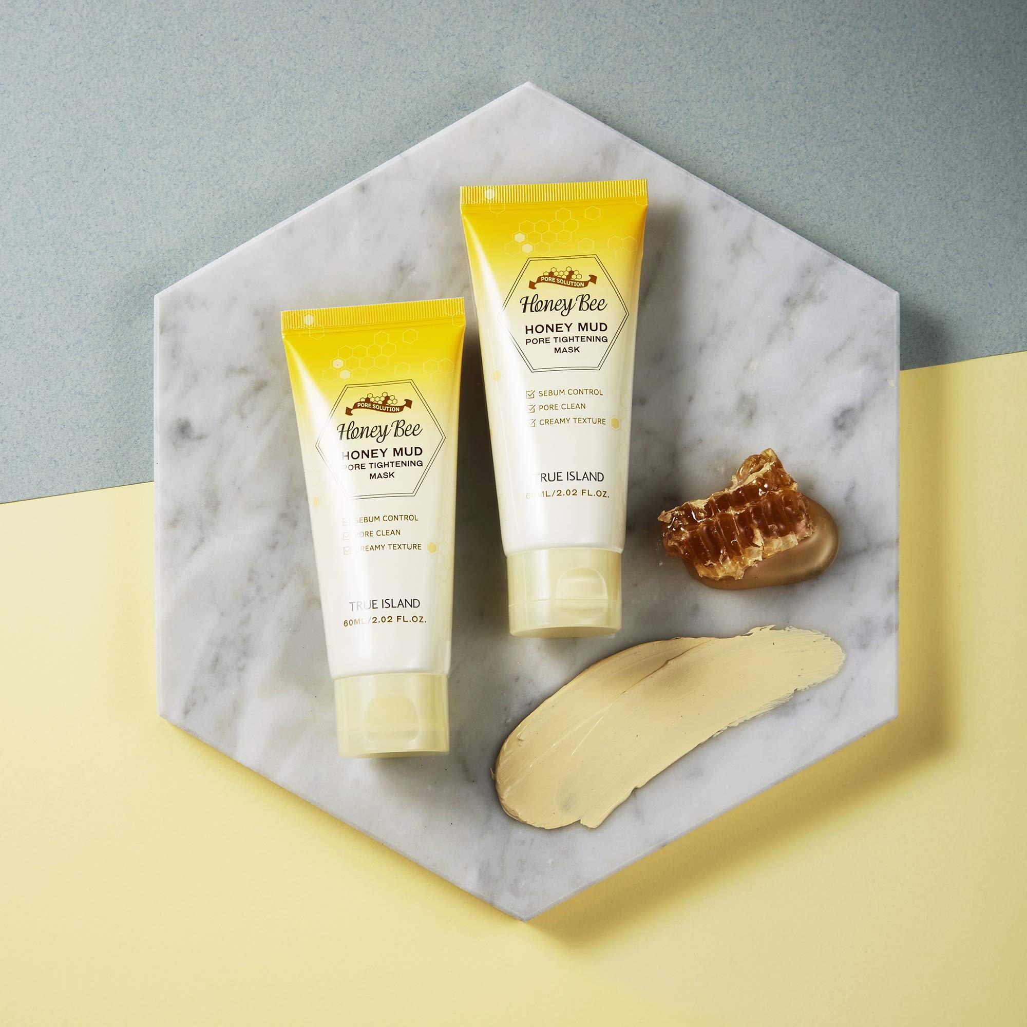[TRUE ISLAND] Honey Bee Honey Mud Pore Tightening Mask (2.02 fl oz) / Korean Pore Therapy with Jeju Island Volcanic Bentonite Clay/Quick Drying Clay Mask