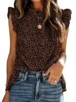 Ybenlow Womens Ruffled Sleeveless Shirts Leopard Print Summer Casual Loose Tank Tops Chiffon Vest Blouses