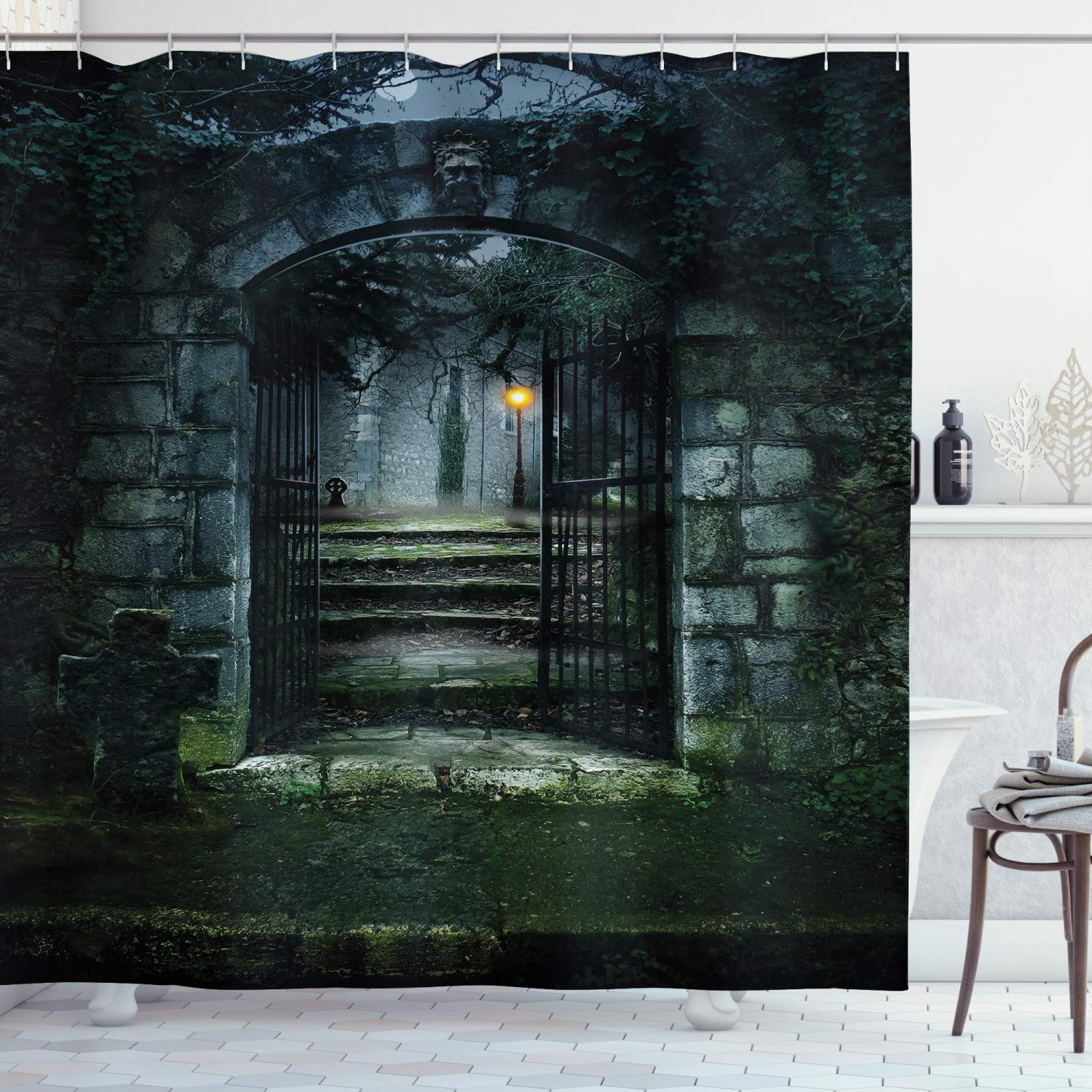 """Ambesonne Gothic Shower Curtain, Image of The Gate of a Dark Old Haunted House Cemetery Dead Myst Fiction Art Print, Cloth Fabric Bathroom Decor Set with Hooks, 84"""" Long Extra, Grey Green"""
