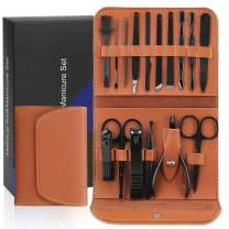 Manicure Set Men Women, Nail Clipper Kit Travel Luxury Manicure 16 in 1 Manicure Set & 1 Nose Hair Scissors Stainless Steel Professional Pedicure Set Travel Grooming Kit Gift for Men Lovers colleague