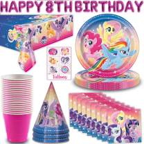 My Little Pony Party Supplies for 16 - Paper Plates, Napkins, Cups, Happy 8th Birthday Letter Balloon, Party Hats, Table Cover, Temporary Tattoos - Great Tableware Set w/Twilight Sparkle, Pinkie Pie,