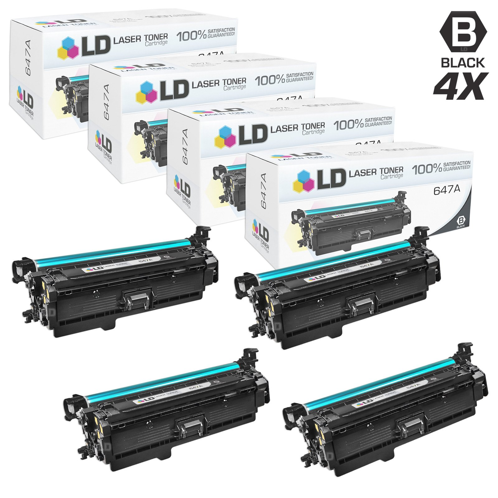 LD Remanufactured Toner Cartridge Replacements for HP 647A CE260A (Black, 4-Pack)