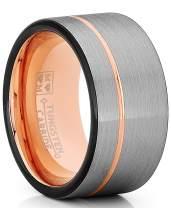 Metal Masters Co. Tungsten Wedding Band Ring 12mm for Men Women Black & Rose Goldtone Pipe Cut