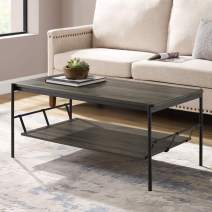 Walker Edison Furniture Company Industrial Wood and Metal Base Rectangle Coffee Table Living Room Accent Ottoman, 42 Inch, Slate Grey