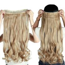 """S-noilite 24""""/26"""" Straight Curly 3/4 Full Head One Piece 5clips Clip in Hair Extensions Long Poplar Style 22colors(24""""-curly,Light Ash Brown Mix Bleach Blonde)"""
