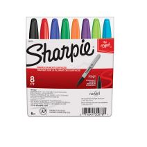 Sharpie 30078 Permanent Markers, Fine Point, Classic Colors, 8 Count