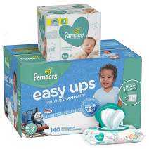 Pampers Easy Ups Pull On Disposable Potty Training Underwear for Boys, Size 4 (2T-3T), 140 Count, ONE MONTH SUPPLY with Baby Wipes Sensitive 6X Pop-Top Packs, 336 Count (Packaging May Vary)