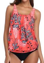 Yonique Blouson Tankini Swimsuits for Women Modest Bathing Suits Two Piece Loose Fit Swimwear