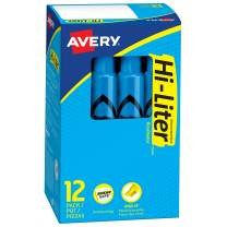 Avery Hi-Liter Desk-Style Highlighters, Smear Safe Ink, Chisel Tip, 12 Fluorescent Blue Highlighters (24016)