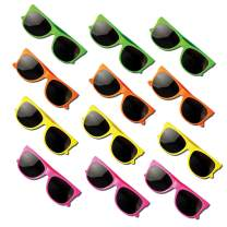 Neliblu Kids Sunglasses Party Favors 80's Style Sun Glasses for Beach and Pool Parties, Carnival Prizes, Party Favors, Party Toys, Bulk Pack Neon Sunglasses for Kids and Adults (1 Dozen)