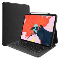 """Procase Keyboard Case for iPad Pro 12.9"""" 2018, Lightweight Folio Stand Protective Smart Book Cover with Wireless Keyboard for Apple iPad Pro 12.9 Inch 3rd Gen 2018 Release –Black"""