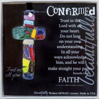 The Grandparent Gift Handmade Mosaic Confirmation Cross for Girls or Boys