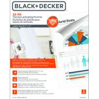 BLACK + DECKER TimeShield  UV Thermal Laminating Pouches, Letter, 5 mil - 25 Pack (LAMLET5-25)