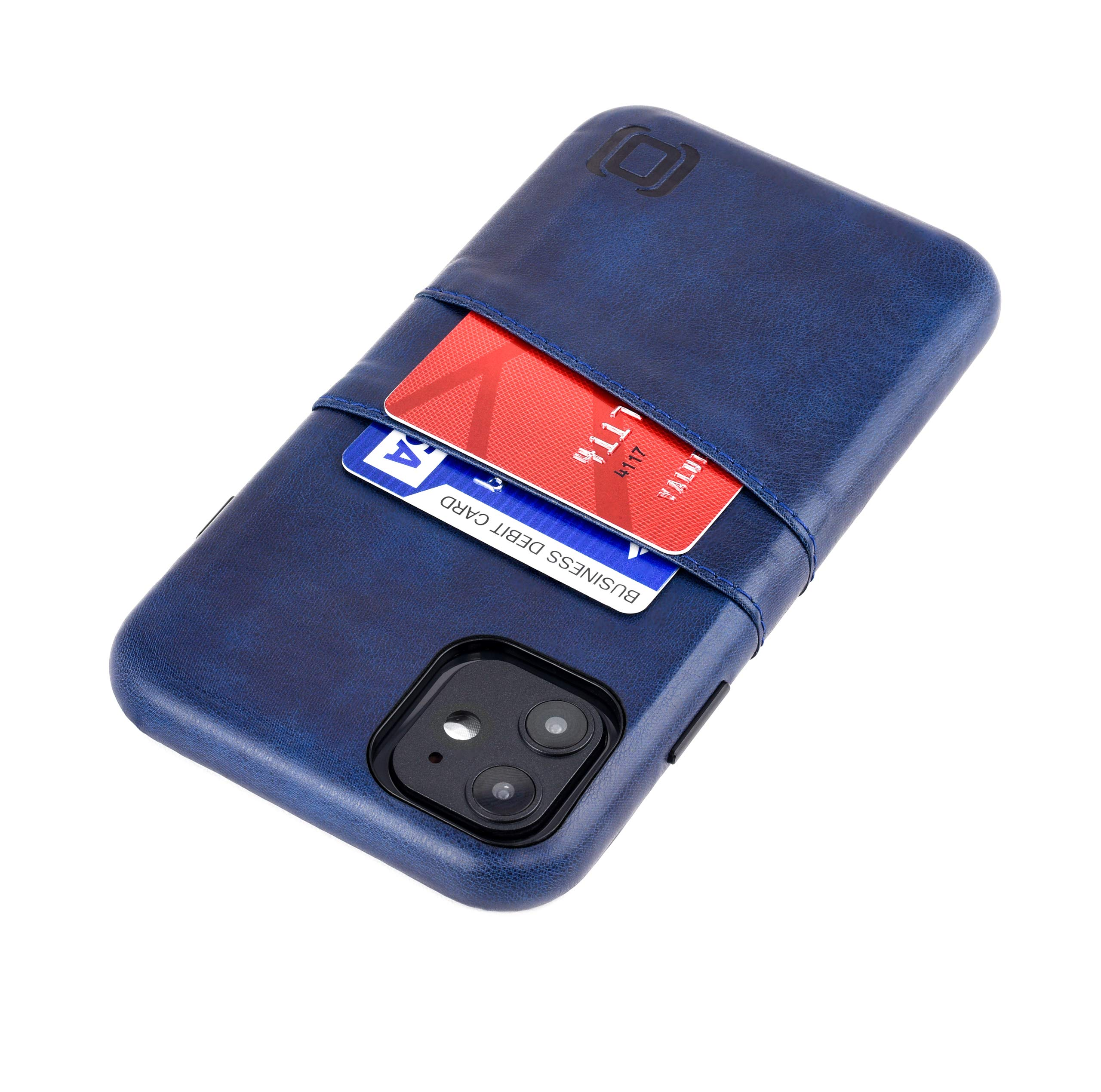 """Dockem iPhone 11 Wallet Case: Built-in Metal Plate for Magnetic Mounting & 2 Credit Card Holders (6.1"""" Exec M2, Synthetic Leather, Navy Blue)"""