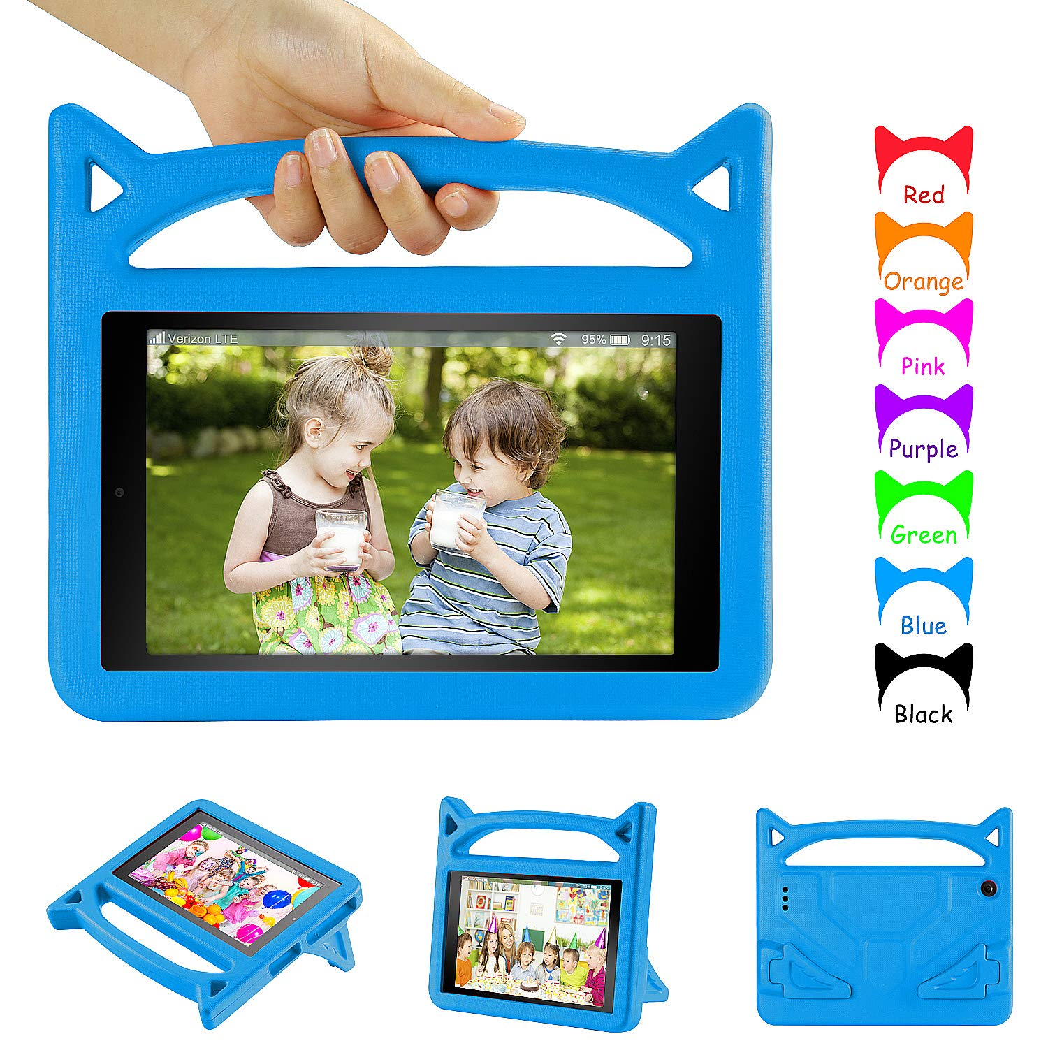 All New Fire 7 2019 Case, Fire 7 Kids Case - DiHines Light Weight Shock Proof Handle Friendly Stand Kid-Proof Case for Amazon Fire 7 Tablet Cover(2015&2017&2019 Release) Blue