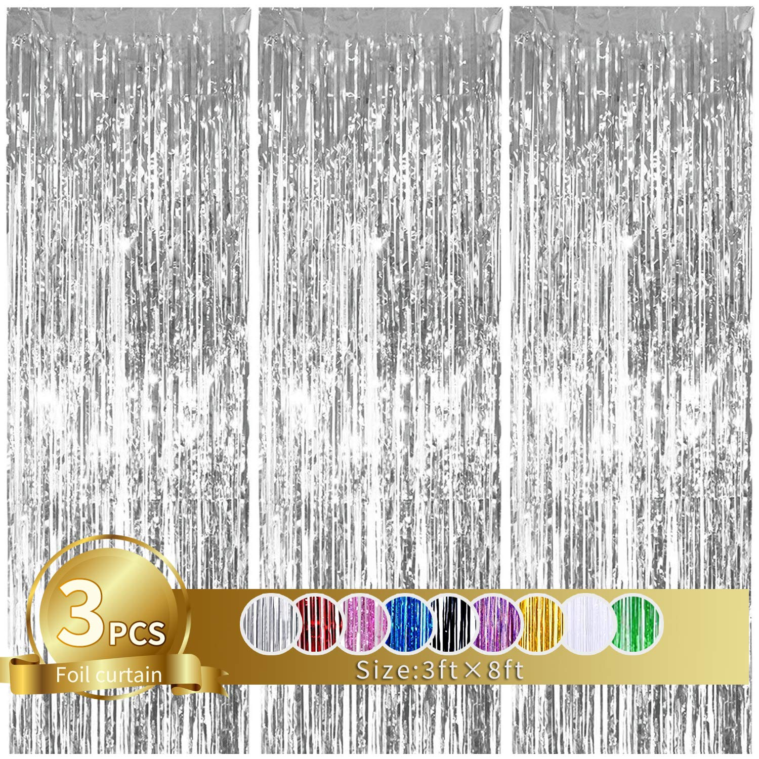 3Pcs Silver Metallic Tinsel Foil Fringe Curtains,3.28ft x 6.56ft Silver Photo Booth Backdrop Curtain,Photo Booth Props,Ideal for Bachelorette,Birthday,Graduation, Christmas,New Year Party Decorations