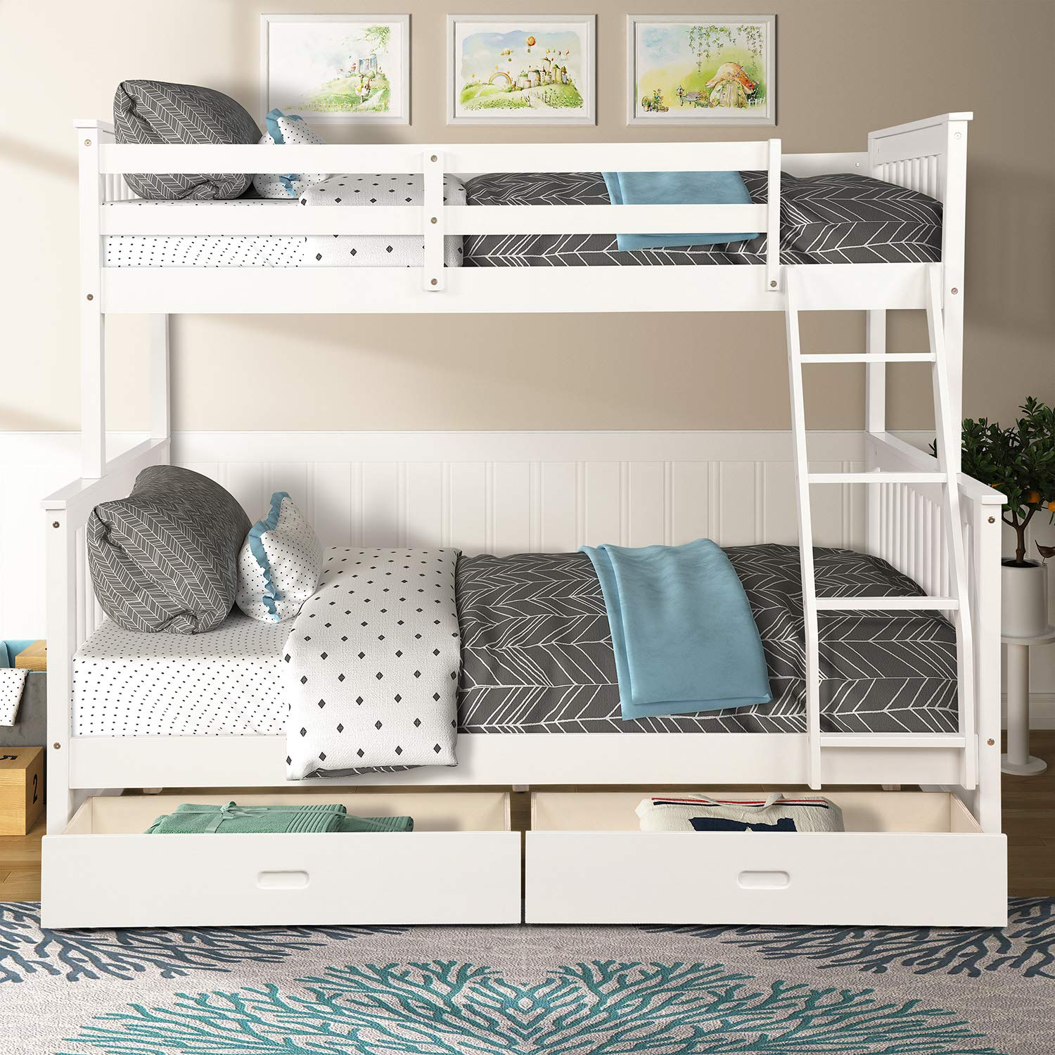 Picture of: Merax Twin Over Full Bunk Bed Solid Wood Bunk Bed With Removable Ladders And Two Storage Drawers White